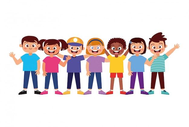 Crianças felizes, sorrindo, acenando a mão
