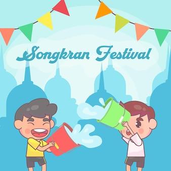 Crianças felizes tocando festival songkran