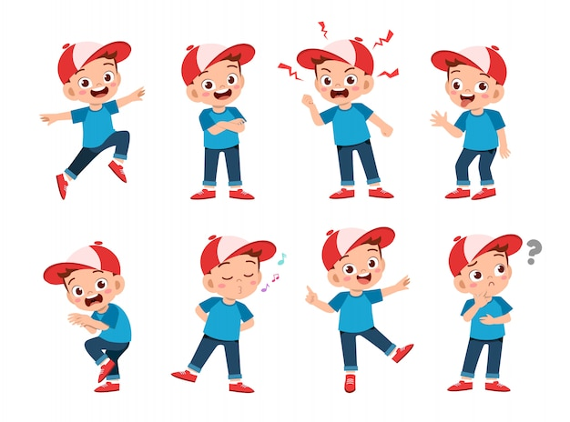 Crianças felizes usam conjunto de expressão de chapéu