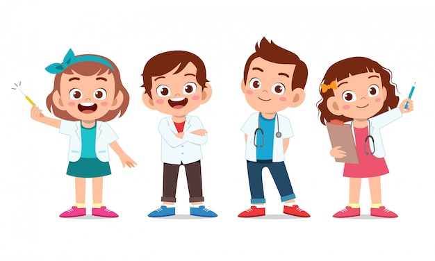 Crianças felizes usam conjunto uniforme médico