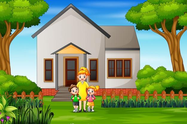 Crianças felizes vão para a escola em casa