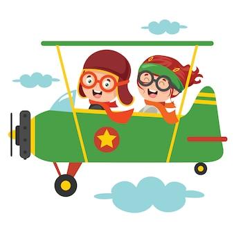 Crianças felizes, voando no avião