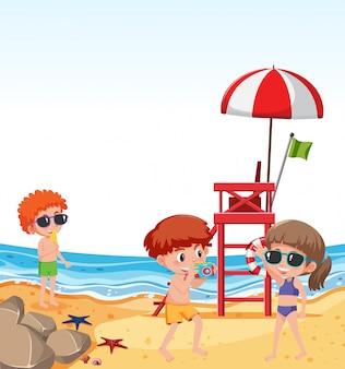 Crianças, feriado praia