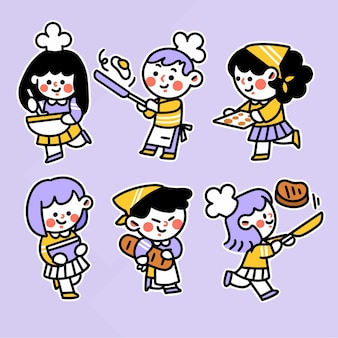 Crianças fofas aprendendo a cozinhar recurso de ilustração de doodle