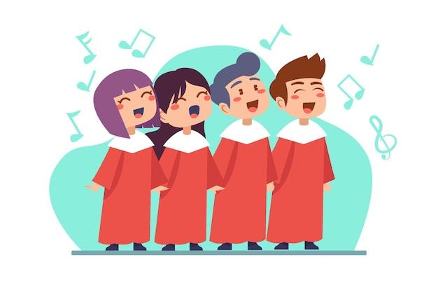 Crianças fofas cantando em uma ilustração de coro