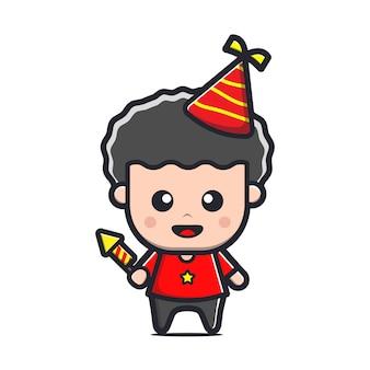 Crianças fofas celebram aniversários ilustração de desenho animado Vetor Premium