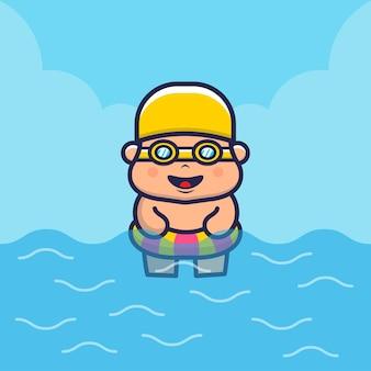Crianças fofas com ilustração de desenho animado de anel de natação