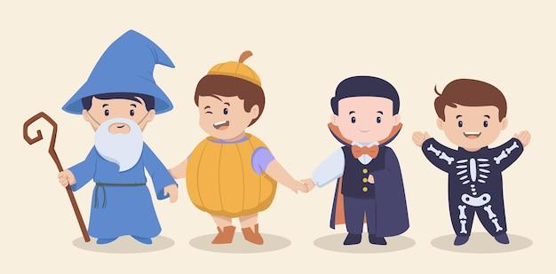 Crianças fofas de halloween com ilustração de festa à fantasia