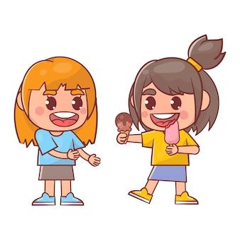 Crianças fofas e felizes comendo sorvete Vetor Premium