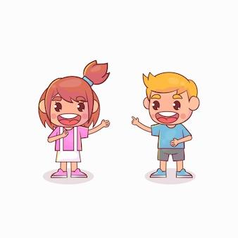 Crianças fofas e felizes conversando