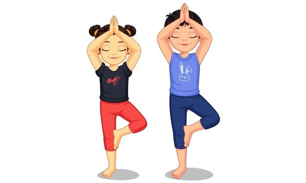Crianças fofas em ilustração de pose de ioga