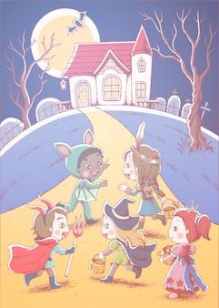 Crianças fofas em trajes diferentes curtindo doces ou travessuras