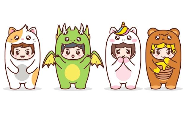 Crianças fofas em várias fantasias de animais