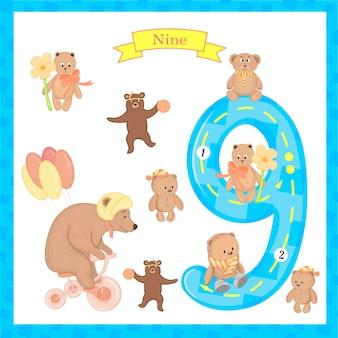 Crianças fofas flashcard number nove traçando para crianças que aprendem a contar e escrever.