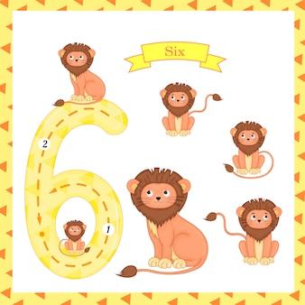 Crianças fofas flashcard número seis traçando com 6 leões