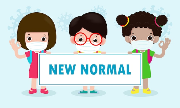 Crianças fofas positivas enfrentando o novo normal