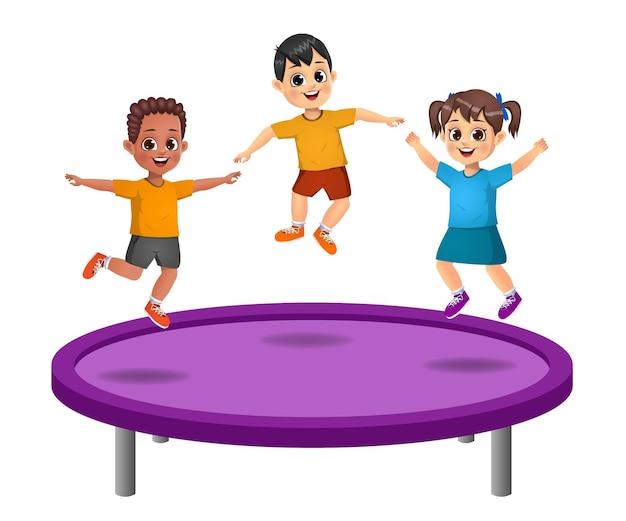 Crianças fofas pulam na cama elástica. isolado