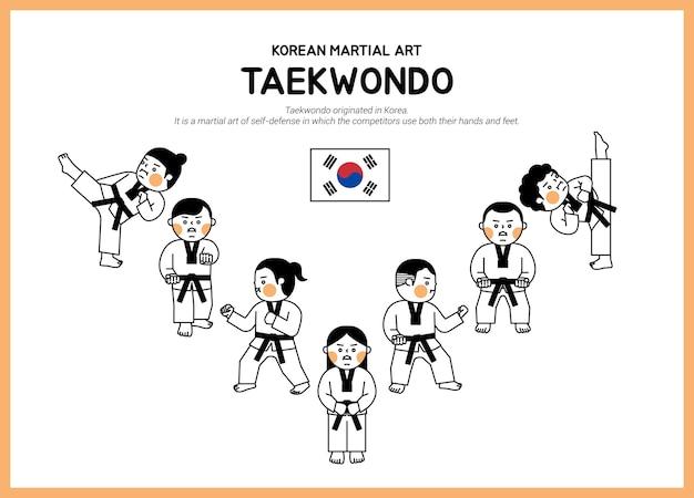 Crianças fofas que fazem taekwondo desenhadas com linhas