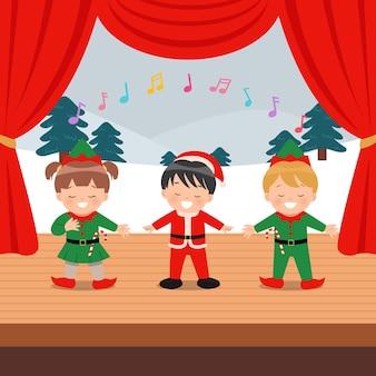 Crianças fofas realizando evento musical no palco.
