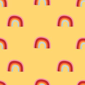 Crianças fofas sem costura padrão de fundo, ilustração vetorial de arco-íris