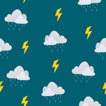 Crianças fofas sem costura padrão de fundo, ilustração vetorial de nuvem chuvosa