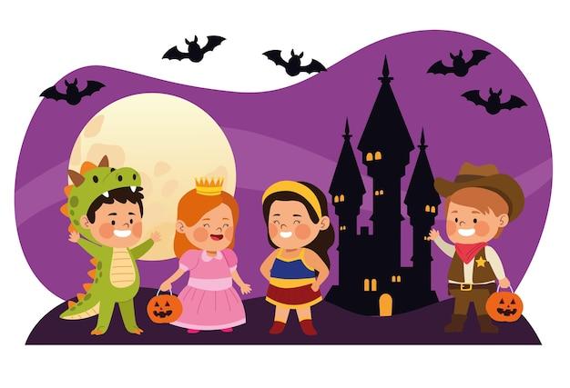 Crianças fofas vestidas como personagens diferentes com morcegos em ilustração vetorial de cena noturna de castelo
