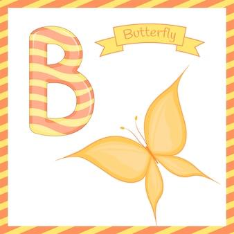Crianças fofos abc alfabeto zoo zoológico b borboleta colorida para crianças que aprendem o vocabulário inglês