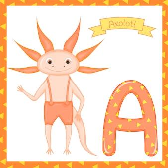 Crianças fofos abc alfabeto zoológico de animais a. para crianças aprendendo o vocabulário de inglês. ilustração vetorial
