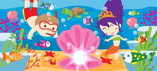 Crianças fofos exploram o mundo do oceano