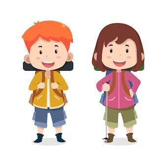 Crianças fofos personagens alpinistas