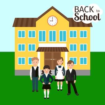 Crianças, frente, escola