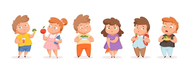 Crianças gordas em dieta. crianças com sobrepeso comendo frutas e vegetais. adolescentes infelizes isolados