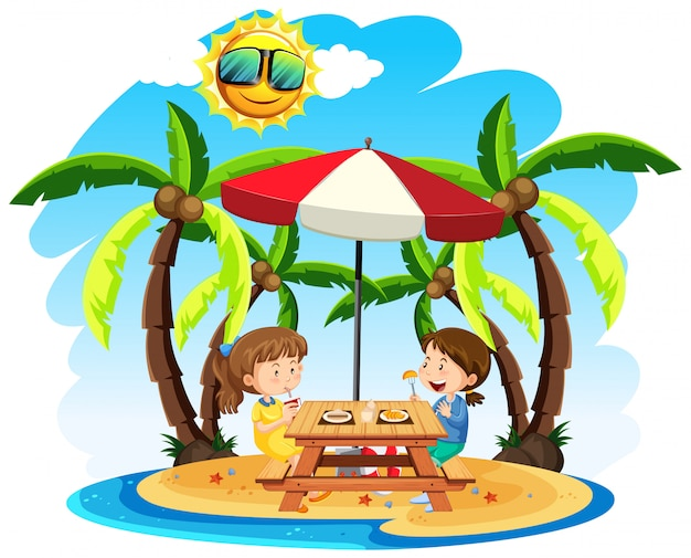 Crianças gostam de almoço na praia