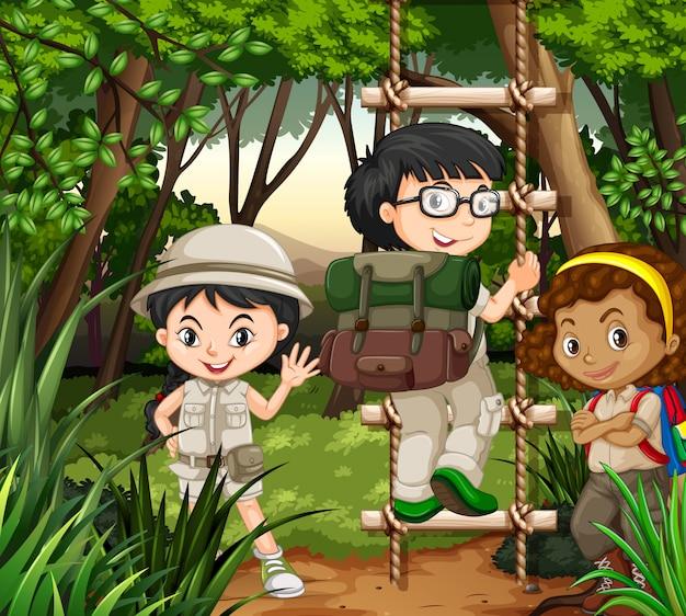 Crianças, hiking, em, a, floresta