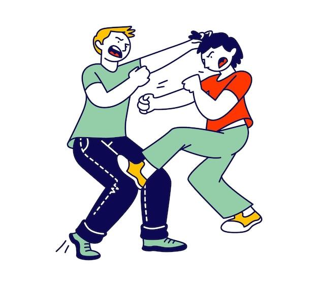 Crianças hiperativas travessas brigando, dois meninos brincando e fazendo bagunça. ilustração plana dos desenhos animados