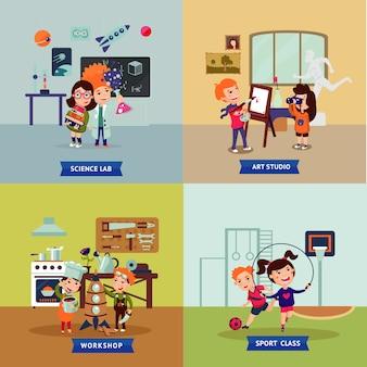 Crianças hobbies square concept