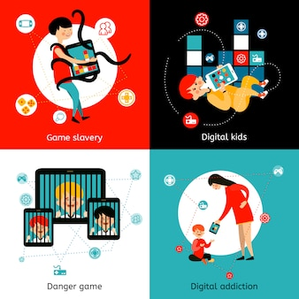 Crianças ícones de vício em internet plana