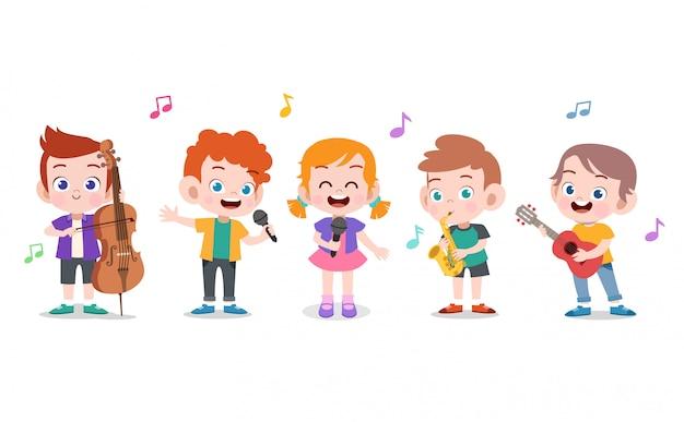 Crianças ilustração de música