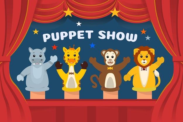 Crianças ilustradas assistindo a um show de fantoches