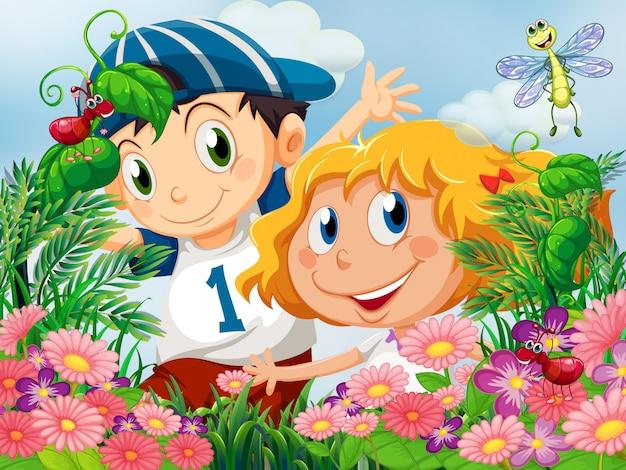 Crianças impressionadas com os insetos no jardim