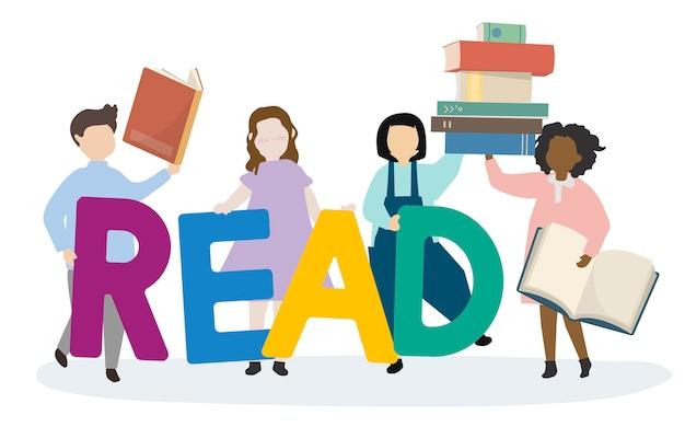 Crianças inclinando-se para ler inglês