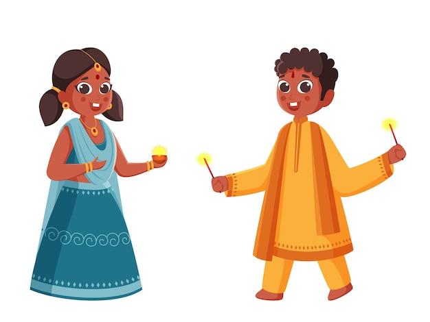 Crianças indianas comemorando Vetor Premium