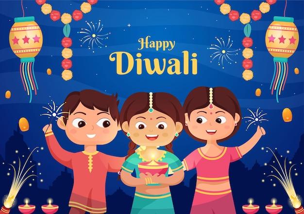 Crianças indianas fofas comemorando o dia de diwali segurando lanternas, iluminando fogos de artifício e mandala ou arte rangoli com o festival de ilustração vetorial de fundo