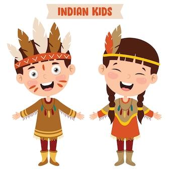 Crianças indianas vestindo roupas tradicionais