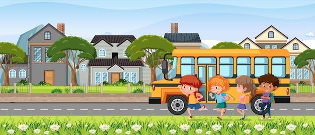 Crianças indo para a escola de ônibus