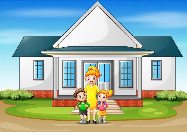 Crianças indo para a escola em casa