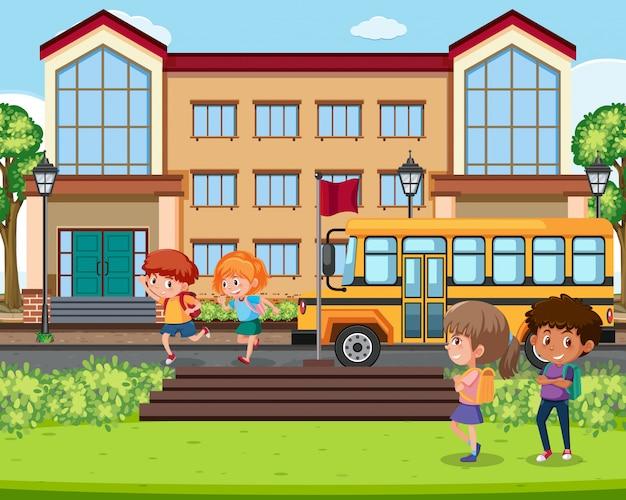 Crianças, infront, de, cena escola
