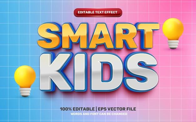 Crianças inteligentes com estilo de efeito de texto 3d moderno em quadrinhos