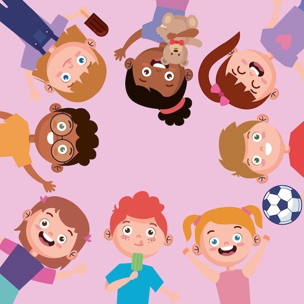 Crianças inter-raciais ao redor
