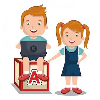 Crianças interagindo com laptop